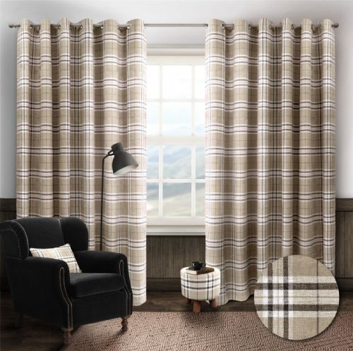 STYLISH TRENDY RINGTOP EYELET LINED HIGHLAND MIST TARTAN CHECK CURTAINS CREAM COLOUR